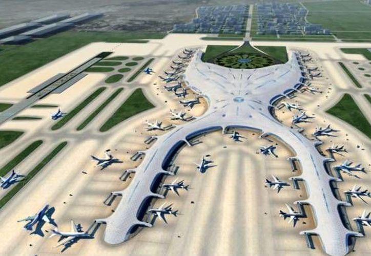 Maqueta del Nuevo Aeropuerto Internacional de la Ciudad de México. (Foster and Partners)