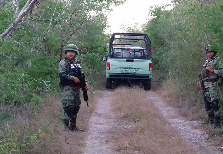 La toma fue hallada por militares a la altura de la comisaría de Tamanché. (Fotos cortesía del Ejército Mexicano)