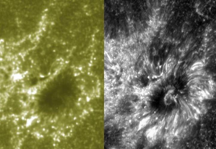 Esta combinación de imágenes difundida por el Centro Goddard de Vuelos Espaciales de la NASA compara la imagen de resolución detallada de la nueva nave espacial ISIS, derecha, y el Observatorio Dinámico Solar. (Agencias)
