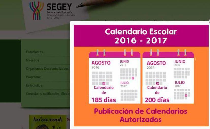 En la página web de la Secretaría de Educación Estatal el calendario escolar 2016-2016 'escuela por escuela' muestra que no todas han escogido entre el de 200 y el de 180 días. (Captura de pantalla)
