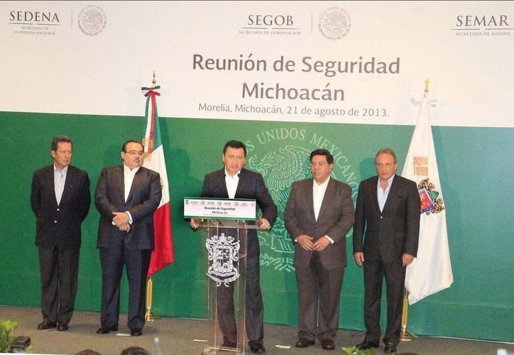 Conferencia conjunta con el gobernador Jesús Reyna. (twitter.com/SEGOB_mx)
