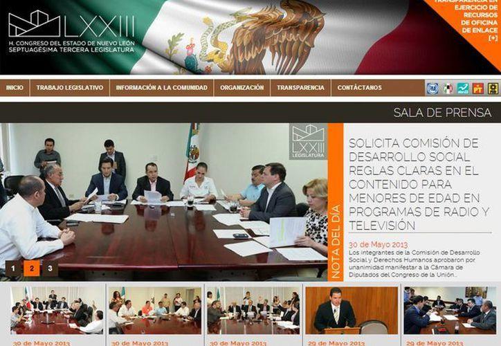 La página www.hcnl.gob.mx ya se encuentra en línea. (Captura de pantalla)