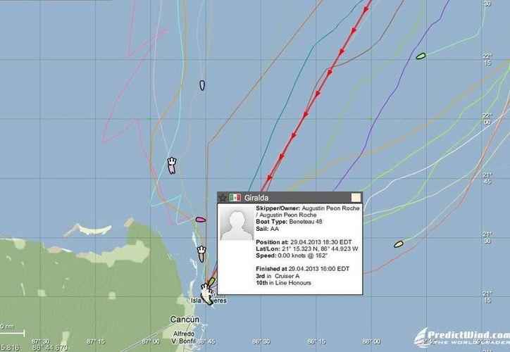 """El """"Giralda"""" ya se encuentra en tierra. En la imagen se observan las rutas que siguieron los navíos. (SIPSE)"""