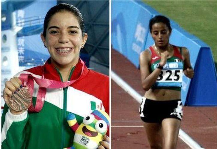 Alejandra Orozco (i) y Valeria Ortuño se convirtieron en unas de las pocas deportistas mexicanas en subirse al podio en los Juegos Olímpicos de la Juventud, en Nanjing 2014, en China. (Milenio La Afición)