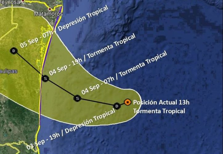 """Trayectoria de la tormenta tropical """"Fernand"""" en el Golfo de México. (Foto: SMN)"""