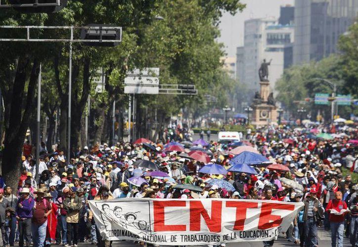 La CNTE mantiene plantones y realiza marchas en diferentes puntos del país. Imagen de archivo. (Archivo/Notimex)