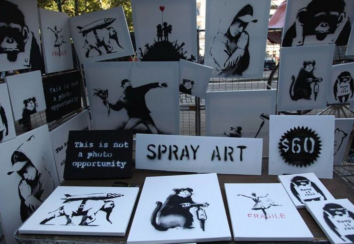 El puesto en Central Park que ofrecía 'arte en spray'. (banksy.co.uk)