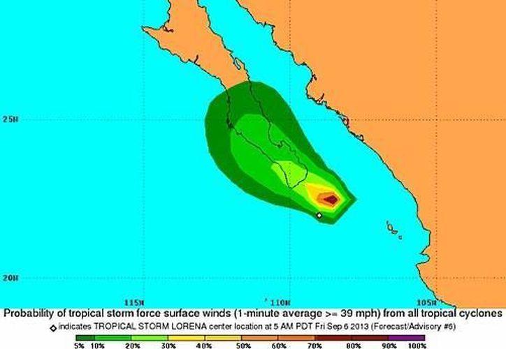 Lorena tiene vientos de 65 kilómetros por hora. (nhc.noaa.gov)