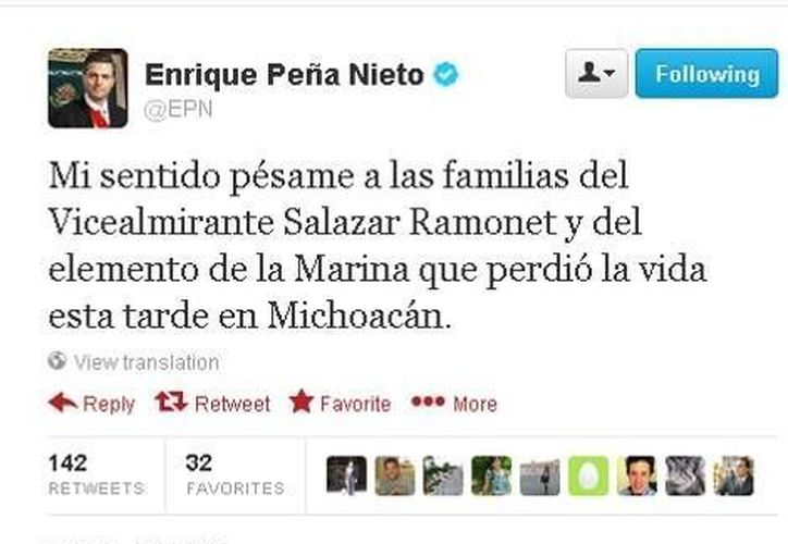 El Presidente expresa sus condolencias vía Twitter a las familias del Vicealmirante y del elemento de la Marina que también pereció en la emboscada. (Milenio)