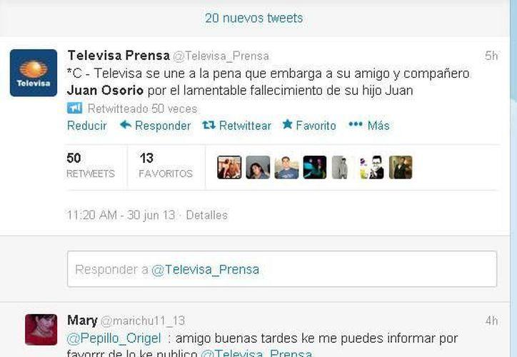 Captura de pantalla del mensaje de condolencias de Televisa_Prensa vía Twitter.
