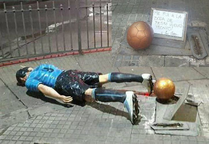 Tras los daños, la estatua fue retirada para ser restaurada. (Twitter @almatana).