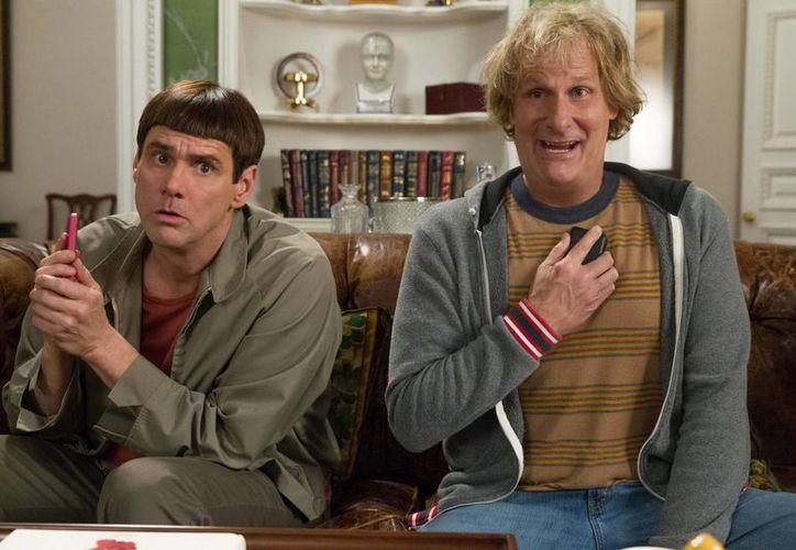 """Imagen distribuida por Universal Pictures donde se ve a Jim Carrey, izquierda, y Jeff Daniels en una escena de la película """"Dumb and Dumber To"""". (Agencias)"""