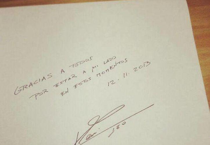 Foto del agradecimiento que la estrella del Barcelona subió a su red social. (Facebook oficial)