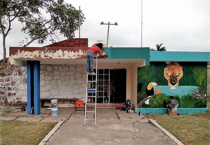Cinco muralistas plasmaron obras de arte en las paredes; son imágenes de tucanes y un jaguar bebiendo agua de la laguna, entre otros paisajes. (Javier Ortiz/SIPSE)