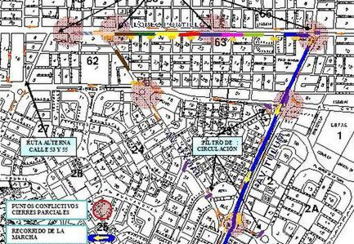 La marcha avanzará por toda la avenida Tulum hasta llegar al Palacio Municipal. (Redacción/SIPSE)