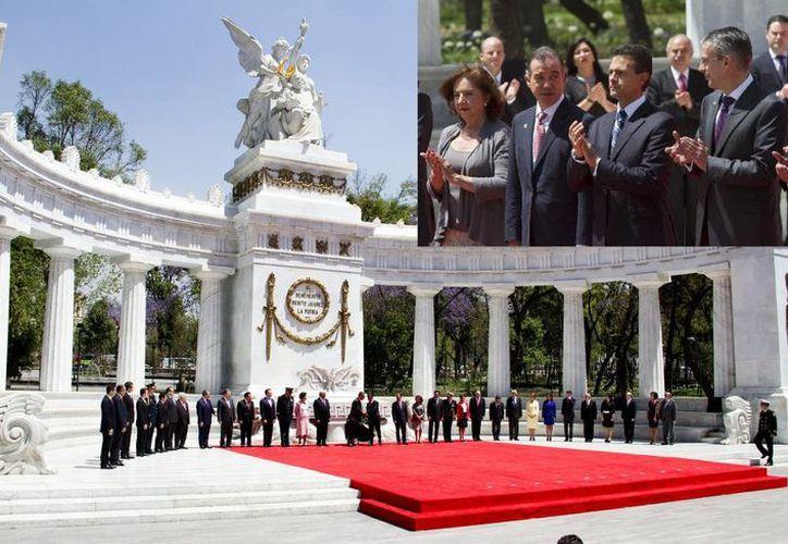 Durante la ceremonia en honor a Juárez, uno de sus familiares lamentó que durante la administración panista se eliminara su nombre a 417 calles. (Notimex)