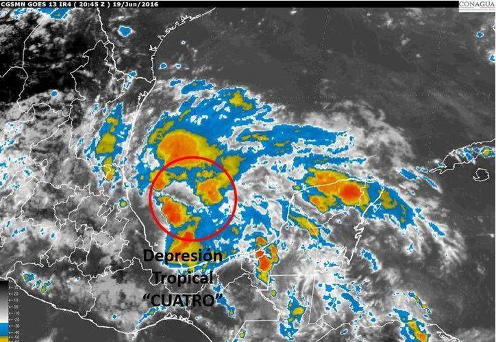 La influencia de la Depresión Tropical 4 dejará lluvias en estados como Yucatán, Campeche y Quintana Roo. (Conagua)