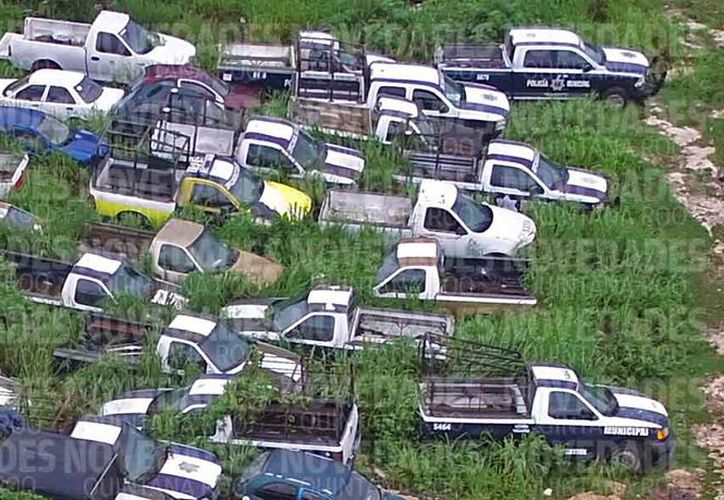 Los vehículos de Seguridad Pública que están fuera de circulación. (Israel Leal/SIPSE)
