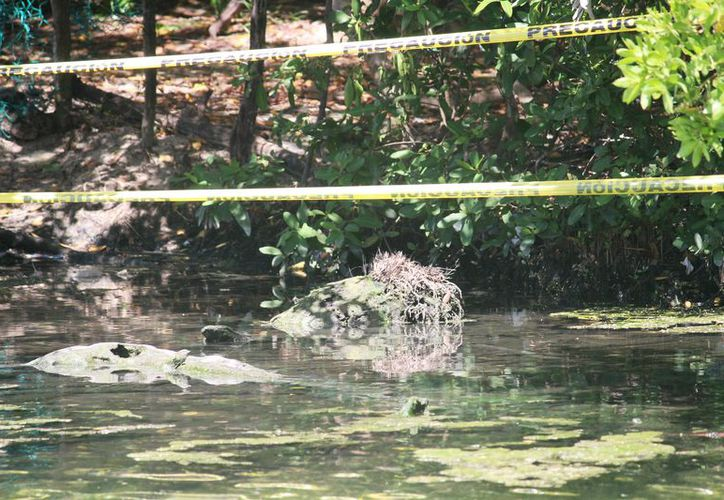 El cenote ubicado en la playa Punta Esmeralda fue acordonado. (Foto: Octavio Martínez/SIPSE).
