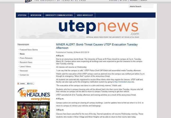 La universidad informó sobre la amenaza en su sitio web. (newsuc.utep.edu)