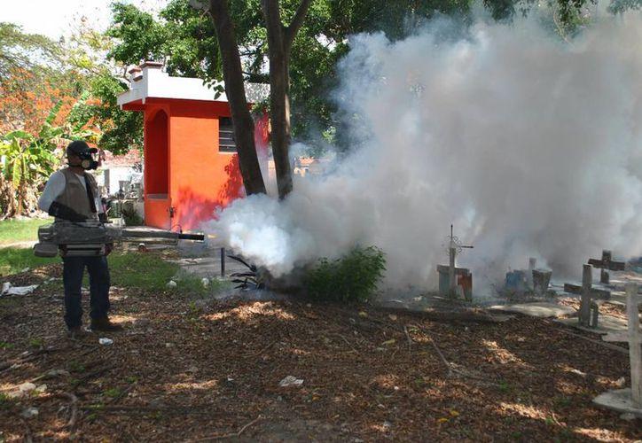 La semana pasada realizaron acciones de termonebulización en los tres panteones de Cancún. (Luis Soto/SIPSE)