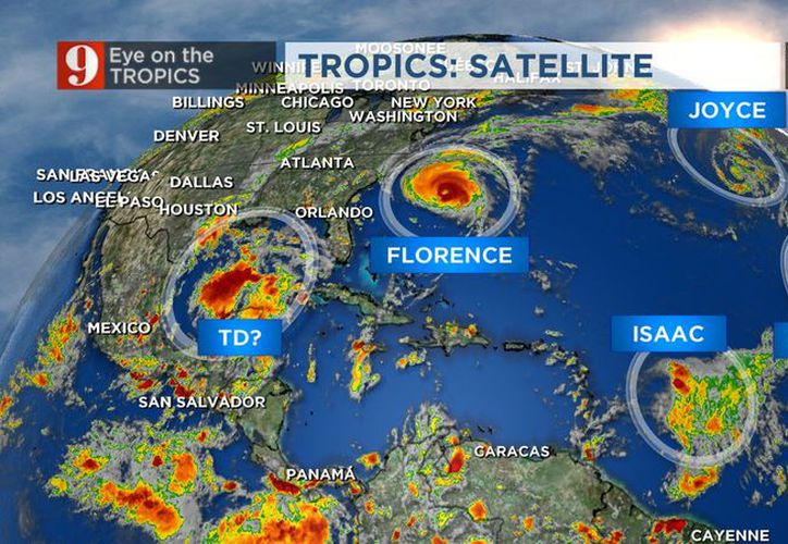 Así lucen los cinco fenómenos que se mueven en el océano Atlántico en estos momentos.  (Imagen tomada de la cuenta de Twitter: Tom Terry/@TTerryWFTV)