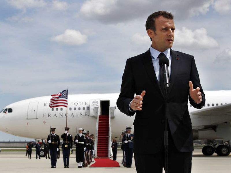 French President Emmanuel Macron speaksa on arrival at Andrews Air Force Base, Md., outside of Washington. President Trump, celebrating nearly 250 years of U.S.-French relations, will be hosting Macron. (AP)