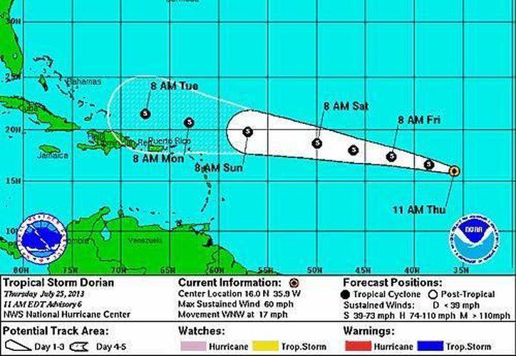 La tormenta tropical se desplaza hacia el oeste-noroeste a 28 kilómetros por hora. (Cortesía/SIPSE)