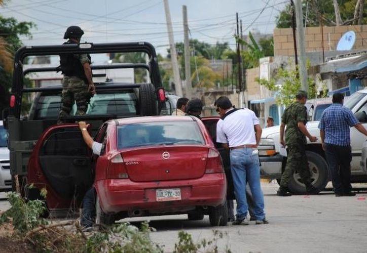 El grupo se apoya con personal militar para investigar algún plagio. (Eric Galindo/SIPSE)