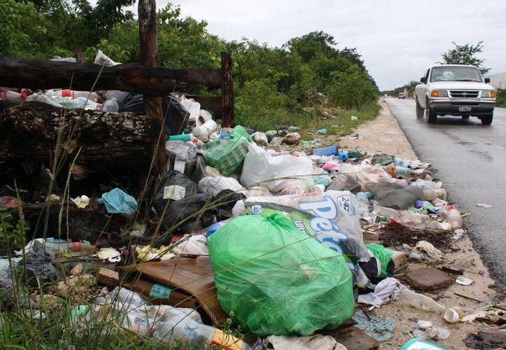 Los habitantes de la zona de invasión In House llevan sus bolsas de basura a la avenida Lilis. (Octavio Martínez/SIPSE)