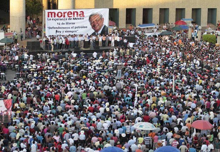López Obrador durante la ceremonia del 76 aniversario de la Expropiación Petrolera en Villahermosa, Tabasco. (lopezobrador.org.mx)
