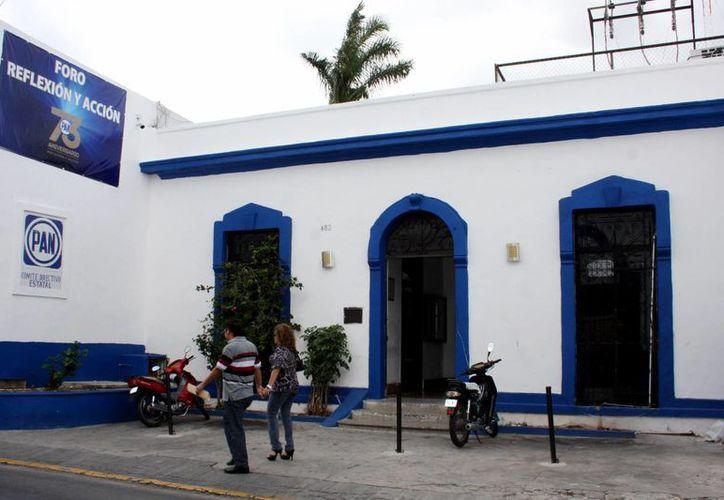 Imagen del edificio del PAN en Yucatán, partido que está generando un acuerdo entre los principales liderazgos para postular candidaturas de unidad rumbo a las elecciones de 2015. (Milenio  Novedades)