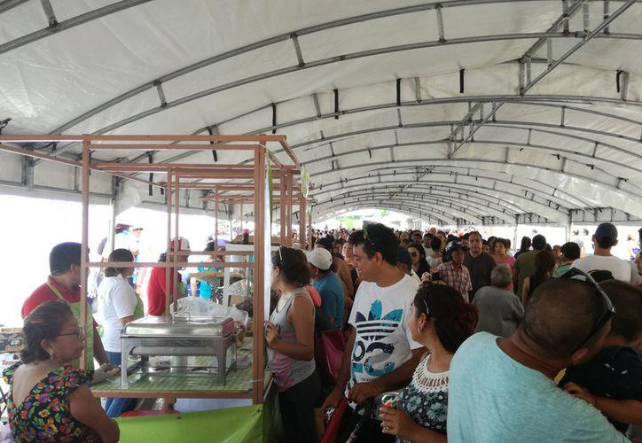 El I Festival de la Chicharra en Xcalachén rebasó todas las expectativas, pero se quedó cortó: mucha gente se fue sin poder probar el producto. (Francisco Puerto/SIPSE)