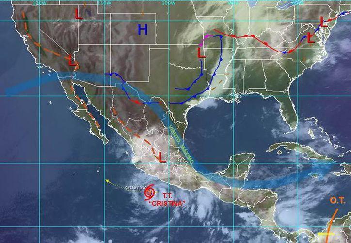 La tormenta tropical Cristina se mantendrá frente a la costa de Michoacán y Guerrero. (Redacción/SIPSE)