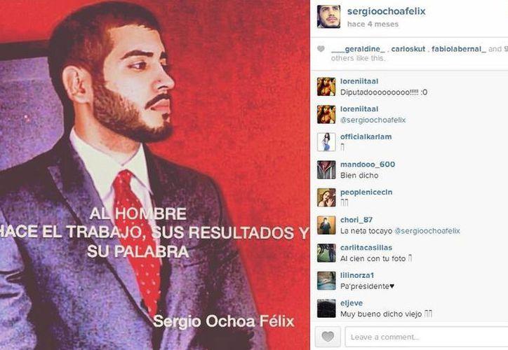 El joven no ha publicado ninguna imagen donde aparezca con armas. (Instagram.com/sergioochoafelix)