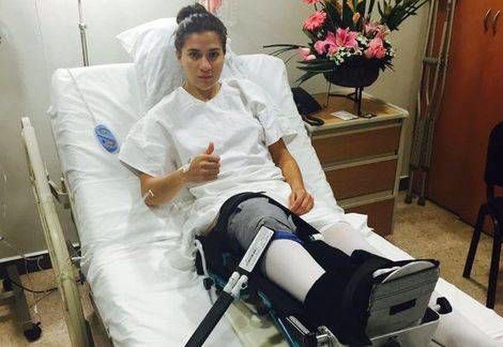 La futbolista sufrió la lesión durante el partido de la selección femenil contra Costa Rica en el pasado Preolímpico. (Foto tomada de Twitter @NayeRangel7)