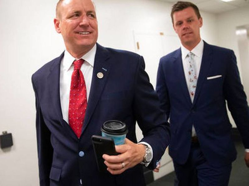 Rep. Jeff Denham, R-Calif., arrives for a closed-door meeting. (Photo: AP)