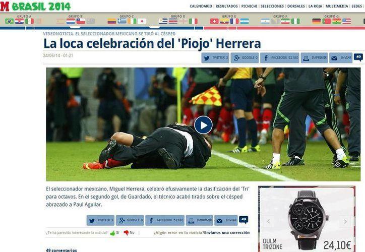 La celebración de 'El Piojo' fue portada en varios medios informativos internacionales.  (Captura de pantalla de marca.com)