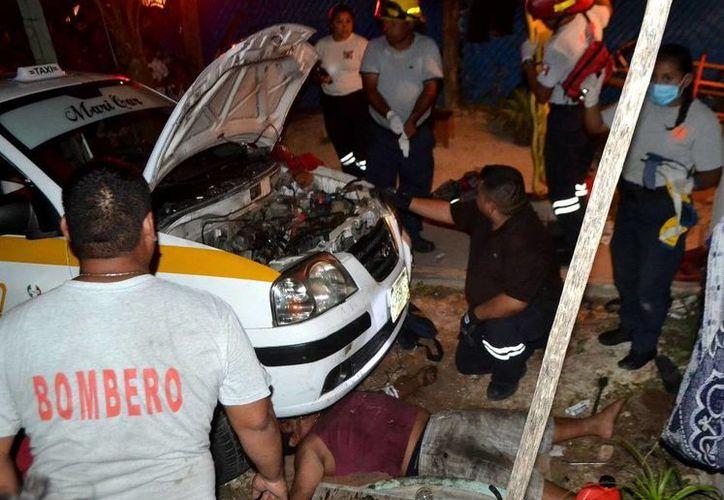 Elementos del Cuerpo de Bomberos realizaron maniobras para sacarlo del taxi. (Redacción/SIPSE)