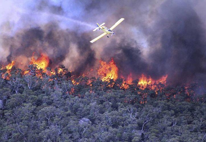 En la foto proporcionada por las autoridades de Victoria, una aeronave colabora en el combate del incendio forestal en la región de los Montes Grampianos de Victoria, Australia (Agencias)