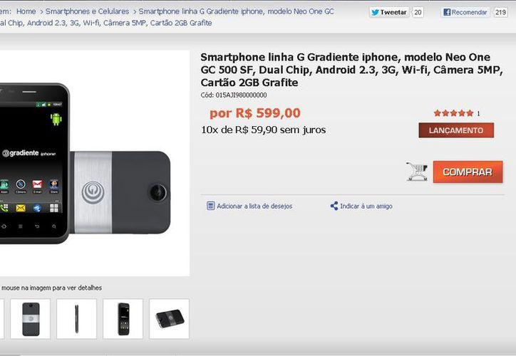 El portal de Gradiente ofrece su iPhone por 599 reales. (Captura de pantalla)