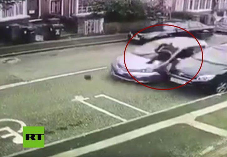 El presunto maleante atropellado voló por los aires y cayó a unos 15 metros de distancia. (RT)