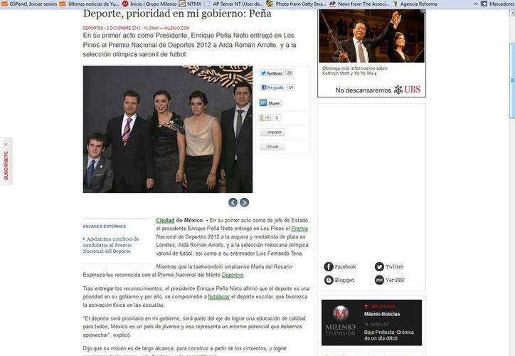 """Peña Nieto dijo uno de sus objetivos es que haya deportistas """"más sanos, más fuertes y más competitivos"""". (Captura de pantalla de Milenio)  """"Los galardonados son un ejemplo por su disciplina y coraje"""". (Captura de pantalla de Milenio)"""