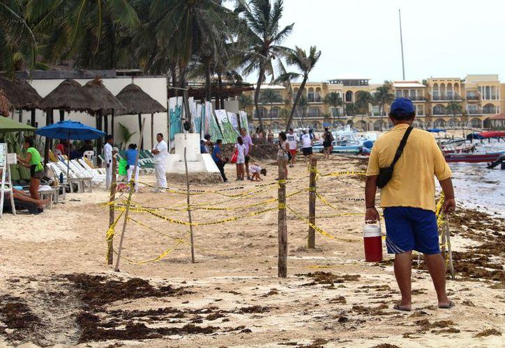 El sitio donde estuvo la abertura continuará resguardado con cintas de precaución. (Octavio Martínez/SIPSE)