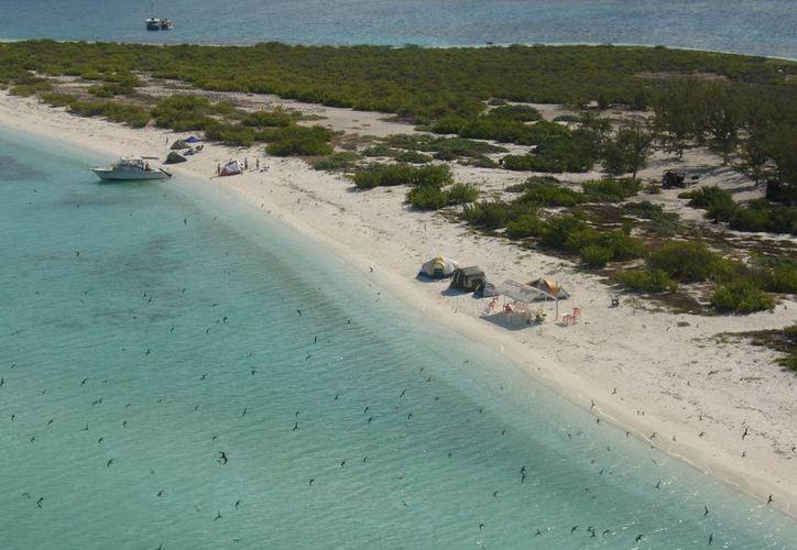 En los meses de primavera y verano embarcaciones particulares visitan el Arrecife Alacranes con fines de recreación. (Cortesía)