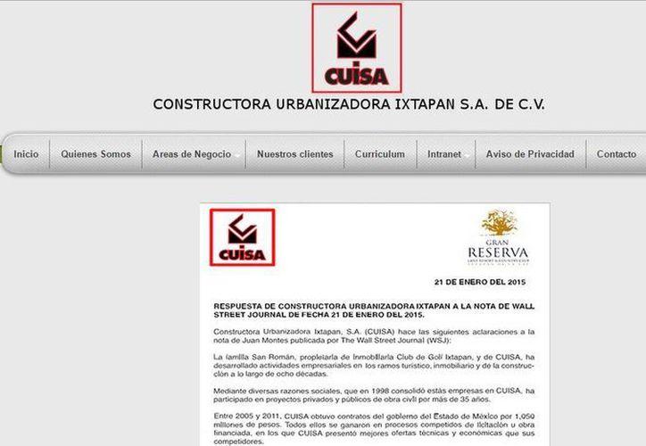 La constructora CUISA emitió en su página de internet una nota aclaratoria respecto a la información divulgada por The Wall Street Jornal. (cuisa.com.mx)