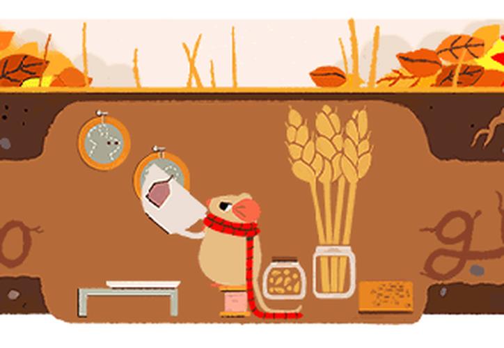 El motor de búsqueda Google ha añadido este viernes un nuevo doodle para celebrar el equinoccio de otoño. (Captura Google).