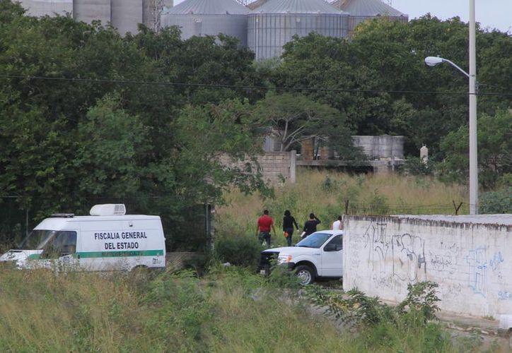 El cadáver de Luis Fernando Luna Guarneros fue hallado semienterrado en un terreno baldío de la colonia San Marcos Nocoh, a espaldas de donde funcionan varias plantas industriales. (José Acosta/SIPSE)