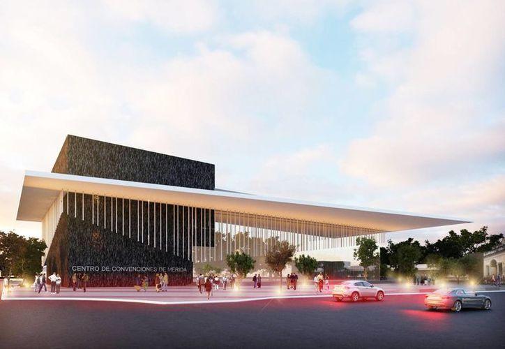 El nuevo Centro Internacional de Convenciones de la ciudad de Mérida tendrá tres pisos para un aforo de más de seis mil personas. Imagen de la maqueta del predio que estará ubicado en la calle 62 entre la avenida Cupules y la Colón. (Imagen tomada del Facebook de ForoMérida.com)