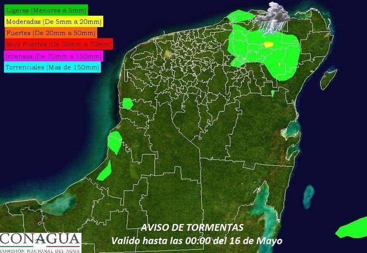 Mapa de lluvias de la Conagua. Las precipitaciones podrían registrarse en el oriente de Yucatán. (Twitter)